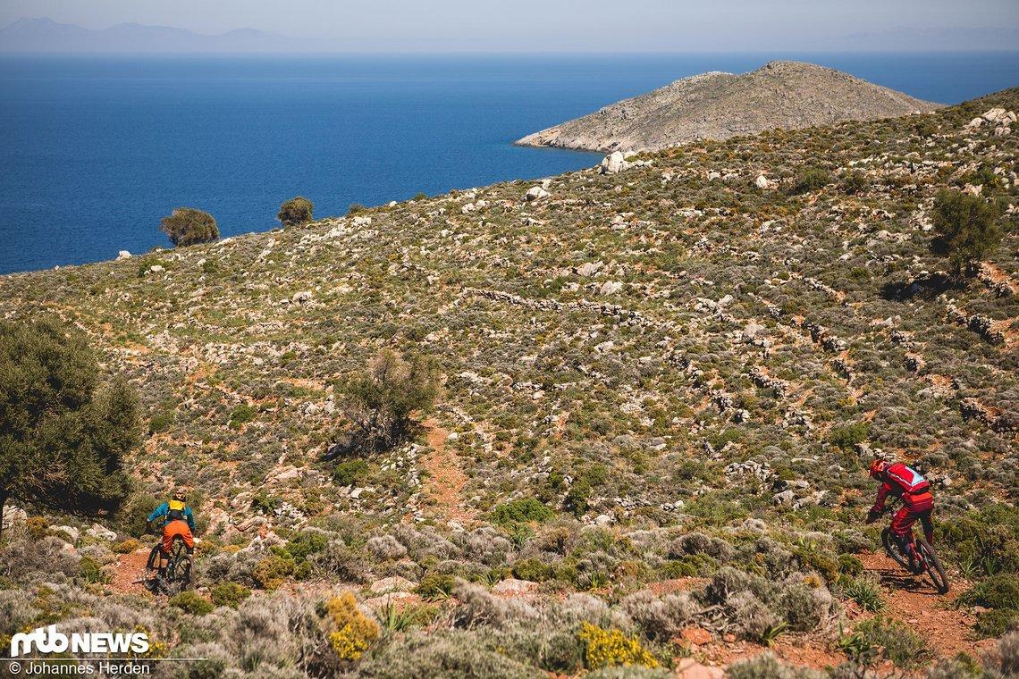 Wir präsentieren: Den wahrscheinlich besten Trail der Woche. Zirka 300 Meter sind die Jungs an dieser Stelle schon unterwegs, aber manchmal will man den Flow einfach nicht unterbrechen