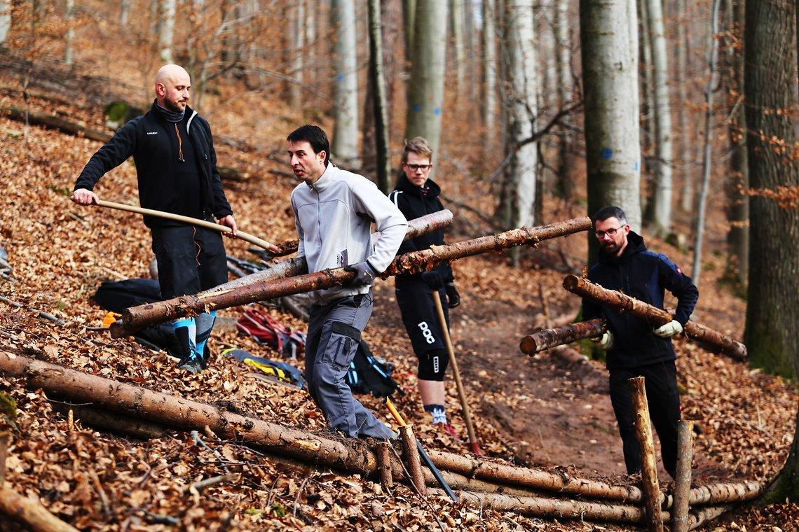 Harte Arbeit: Der Bau des Fischteichtrails im Beilsteiner Gemeindewald