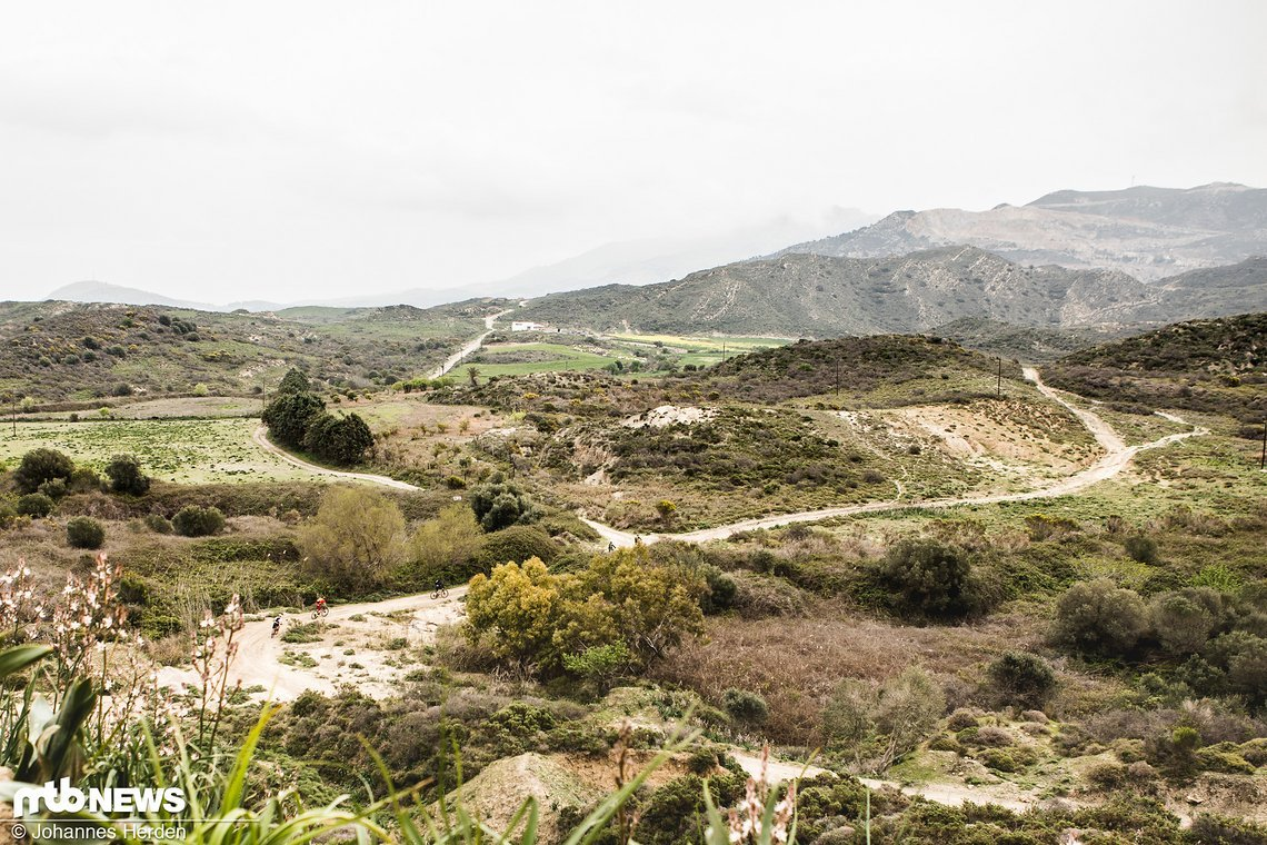 Über leichte Hügel geht es bei kühl-diesigem Wetter durch die Botanik.