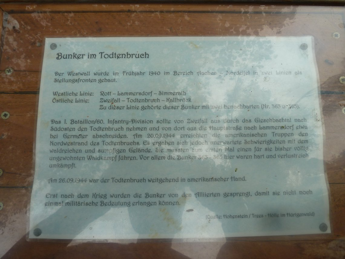 Gegenüber des Peterberg befindet sich die hart umkämpfte Bunkergruppe 363-365 im sumpfigen Todtenbruch.