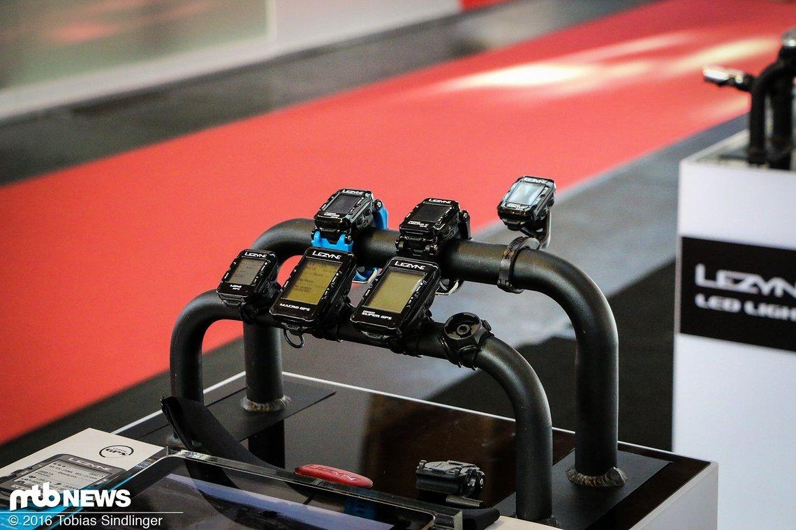 Die Produktpalette der GPS-Geräte: Zwei Armanduhren und fünf neue Bikecomputer (Super GPS, Micro Color GPS, Micro GPS, Macro GPS, Mini GPS).