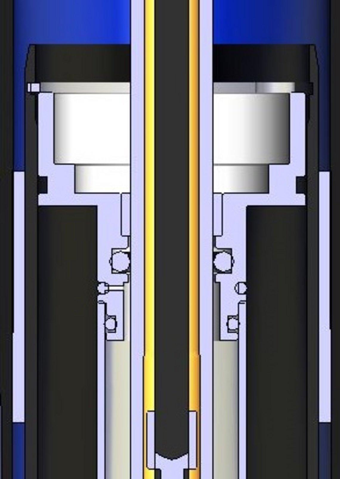 Das Rückschlagventil in der Dämpfung als technische Zeichnung