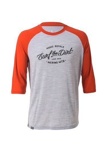 Mons Royale Redwood 3:4 Raglan Burnt Orange-Grey Marl