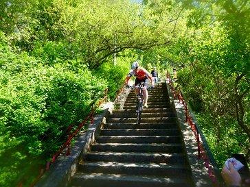 Die Hexentreppe ist auch Teil der Rennstrecke.