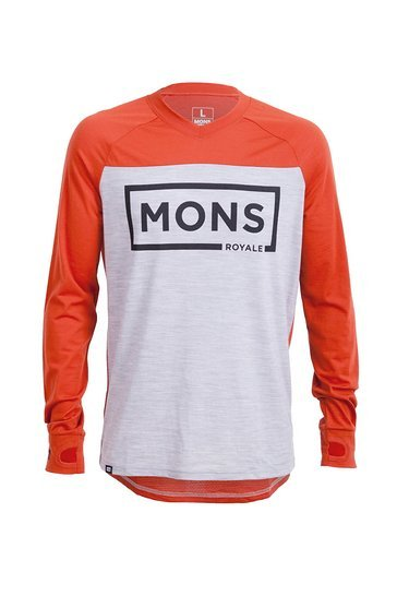 Mons Royale Redwood-V-LS Burnt Orange-Grey Marl