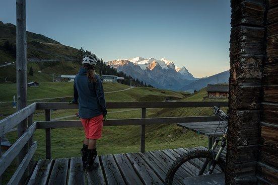 Schweizer Bergpanorama von der urigen Hütte