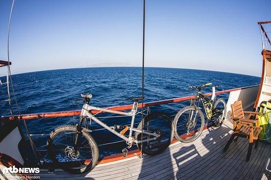 Das längste Rad steht ausnahmsweise heute backbord