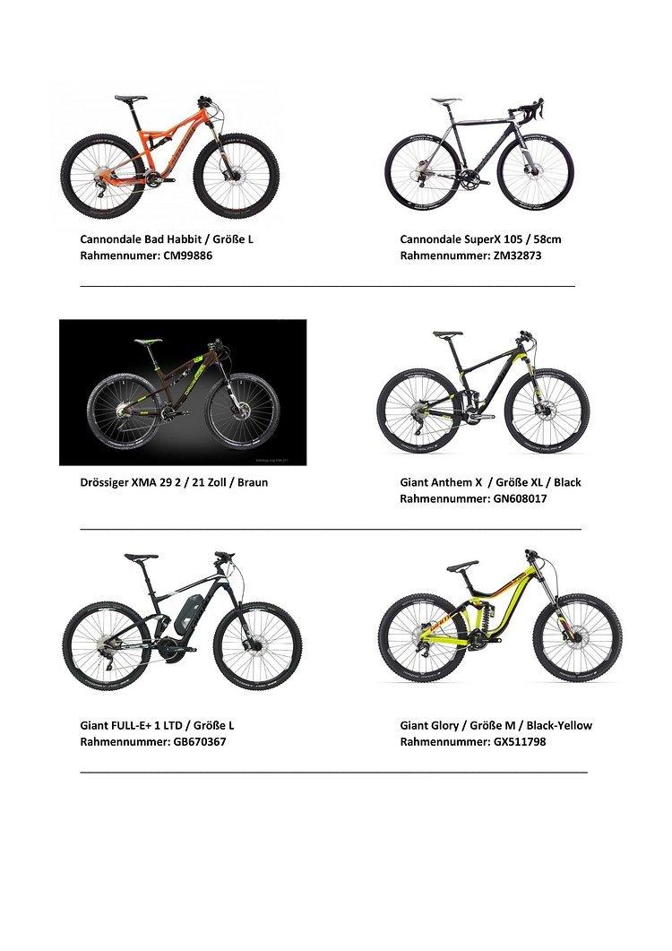 #2 Auswahl der gestohlenen Räder bei Firebike