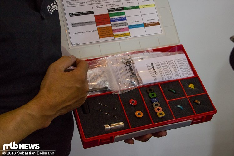 Das Kit mit dem die Händler die Nabe an den Rahmen mit Steckachse anpassen
