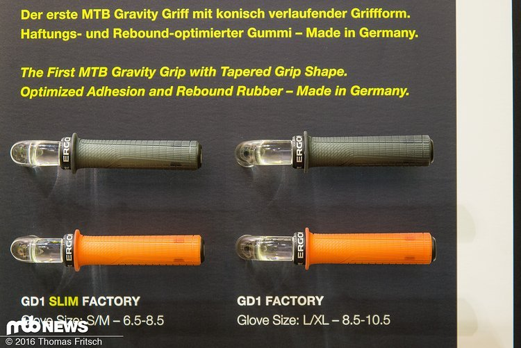 Auch neu: die speziell für den Downhill Einsatz entwickelten Griffe mit Flansch an der Innenseite und verschiedenen Durchmessern am Gummi.